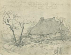 George Clausen - Study of a thatched cottage with double-trunked tree, relating to 'Old Essex in November'