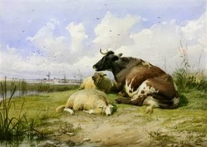 Thomas Sidney Cooper - A Cow and Two Sheep