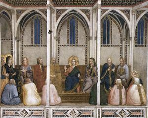 Giotto Di Bondone - Christ Among the Doctors (North transept, Lower Church, San Francesco, Assisi)