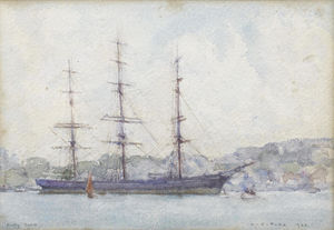 Henry Scott Tuke - The Cutty Sark moored in Falmouth harbour