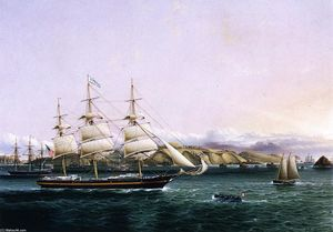 James Edward Buttersworth - The Edward O'Brien'' entering Port''
