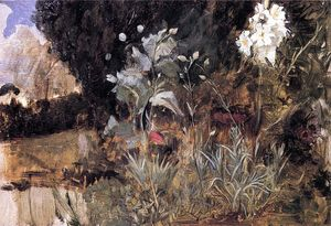 John William Waterhouse - Flower Sketch for 'The Enchanted Garden