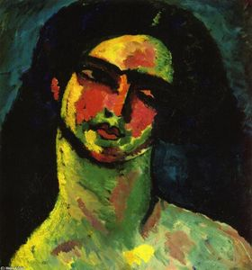 Alexej Georgewitsch Von Jawlensky - Head of An Italian Woman witih Black Hair from the Front
