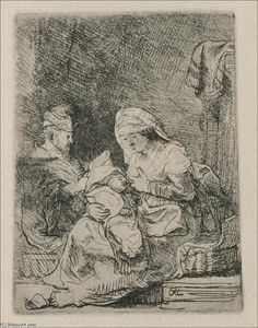 Rembrandt Van Rijn - A Holy Family, The Virgin with a basket of Linen