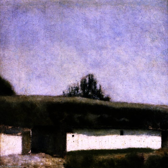famous painting Landscape with Barn of Vilhelm (Hammershøi)Hammershoi