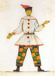 Alexandre Benois - Petrushka. Costume design for Vatslav Nijinsky