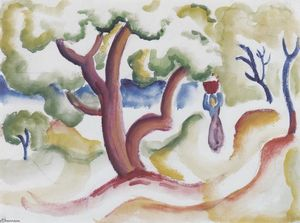 August Macke - Woman with pitcher under trees
