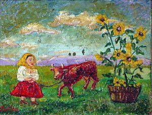 David Davidovich Burliuk - Woman with red cow