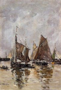 Eugène Louis Boudin - Trouville, Sardine Boats Getting Underway