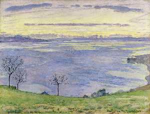 Ferdinand Hodler - Lake Geneva on the evening in Chexbres