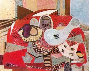 Georges Braque - Still life with red tablecloth