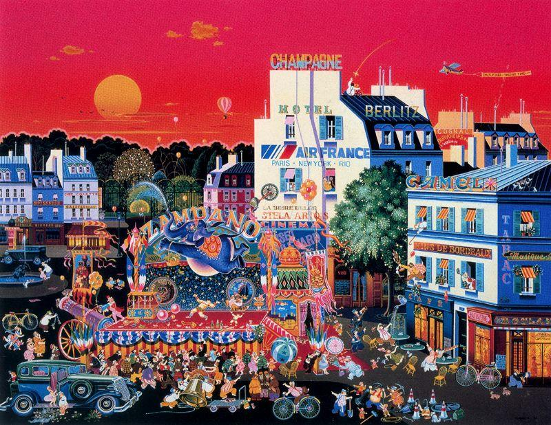 famous painting Circus In The Square of Hiro Yamagata