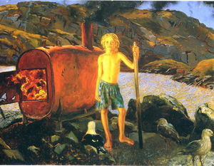 Jamie Wyeth - Cat Bates of Monhegan