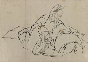 Katsushika Hokusai - Drawing of Seated Nobleman in Full Costume