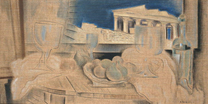 famous painting Still Life with Acropolis in the Background of Konstantinos Parthenis