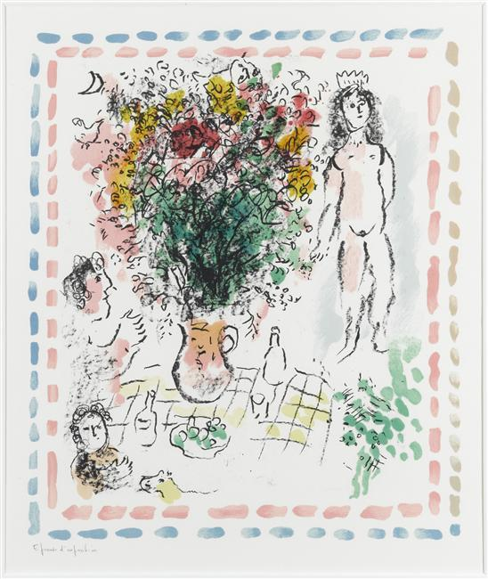 famous painting The bouquet of Queen of Marc Chagall