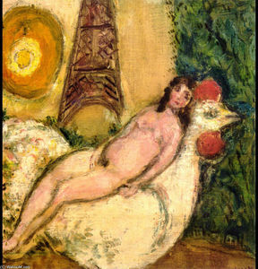 Marc Chagall - Naked on a white cock