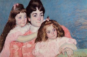 Mary Stevenson Cassatt - Portrait of Madame A. F. Aude and Her Two Daughters