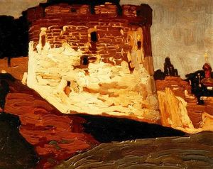 Nicholas Roerich - Pechora. Monastery walls and towers.