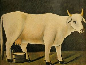 Niko Pirosmani - White cow on a black background