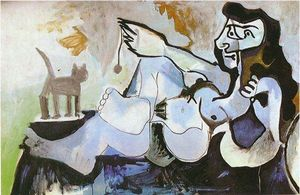 Pablo Picasso - Lying female nude playing with cat