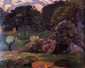 Paul Gauguin - Brittany landscape with women carrying sack