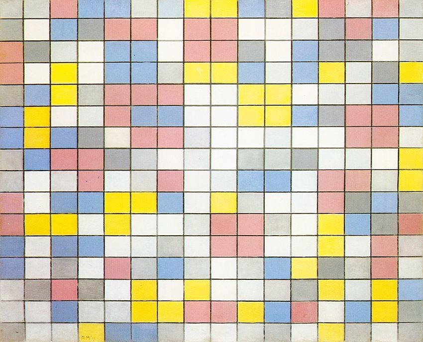 famous painting Composition with Grid IX of Piet Mondrian