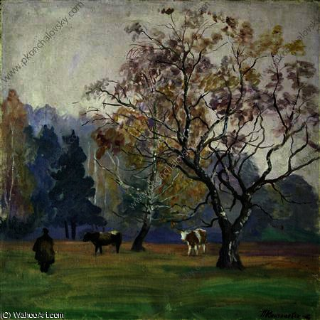 famous painting Mist. Landscape with Cows. of Pyotr Konchalovsky