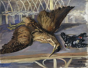 Pyotr Konchalovsky - Still Life with Bittern and Woodpecker