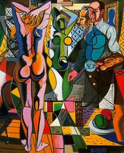 Rafael Zabaleta Fuentes - Self-portrait with model and the still life