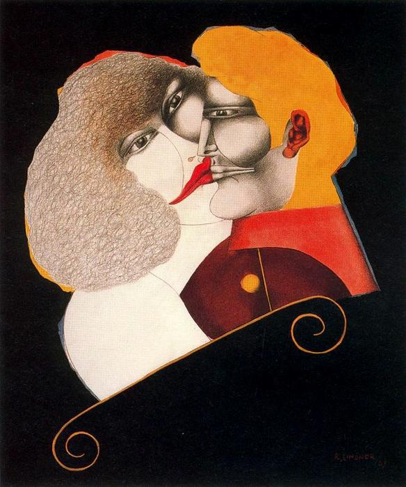 famous painting Kiss of Richard Lindner