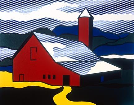 famous painting Red barn II of Roy Lichtenstein
