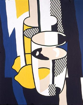 famous painting Glass and lemon in a mirror of Roy Lichtenstein