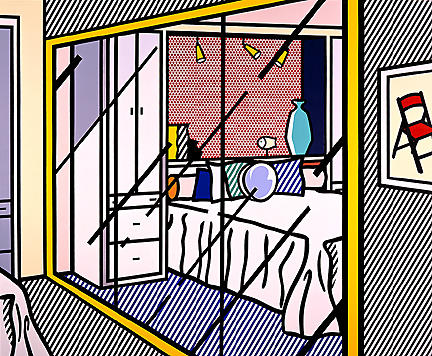 famous painting Interior with mirrored closet of Roy Lichtenstein