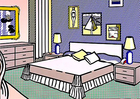 famous painting Interior with water lilies of Roy Lichtenstein