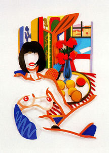 Tom Wesselmann - Monica and Matisse, interior with phonograph