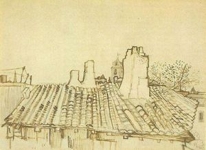 Vincent Van Gogh - Tiled Roof with Chimneys and Church Tower