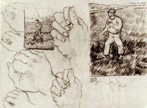 Vincent Van Gogh - Sheet with Two Sowers and Hands