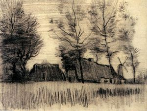 Vincent Van Gogh - Landscape with Cottages and a Mill