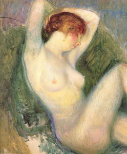 William James Glackens - Nude in green chair