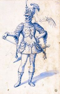 Giuseppe Arcimboldo - Costume drawing for a knight