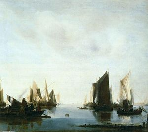 Jan Van De Cappelle - Seascape with Sailing Boats
