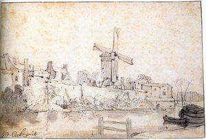 Gerbrand Van Den Eeckhout - The City Walls of Delft with the Mill Called The Rose