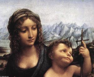 Leonardo Da Vinci - Madonna with the Yarnwinder (detail)