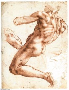 Michelangelo Buonarroti - Sitting Male Nude (recto)