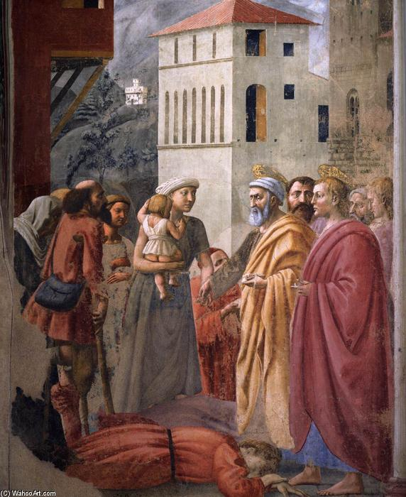 famous painting The Distribution of Alms and the Death of Ananias (detail) of Masaccio (Ser Giovanni, Mone Cassai)