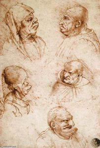Francesco Melzi - Five Grotesque Heads