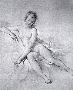 François Boucher - Seated Female Nude