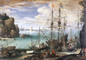 Paul Bril - View of a Port