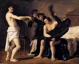 Christiaen Van Couwenbergh - Three Young White Men and a Black Woman